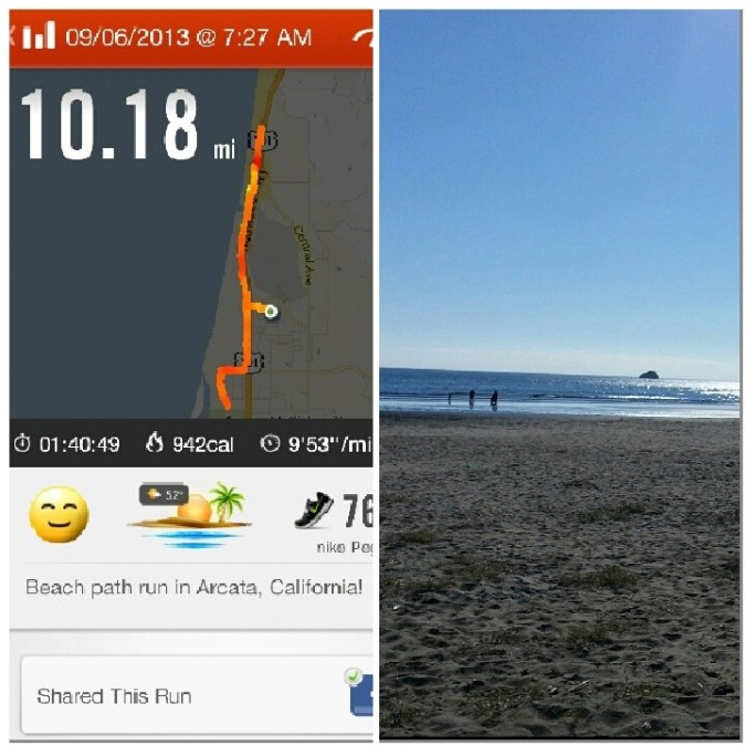 We did it! Running along the beach in Arcata/Eureka.