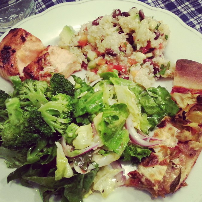 salmon, quinoa salad, pizza, broccoli, salad