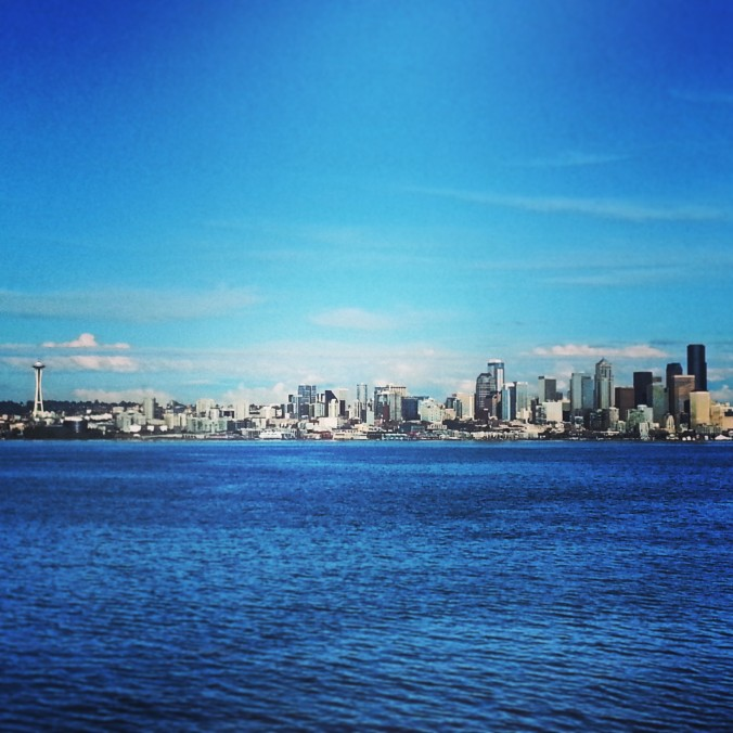 view of Seattle from the ferry