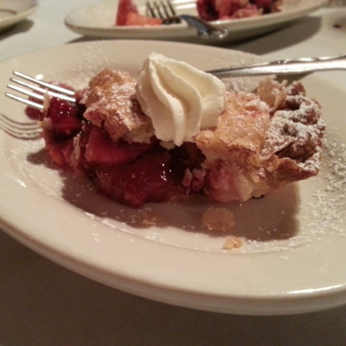 dessert #2 at dinner - berry rhubarb pie!
