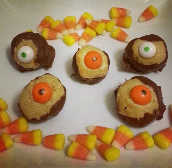 Spooky Eyeball Halloween Candy Corn Buckeyes - i crashed the web