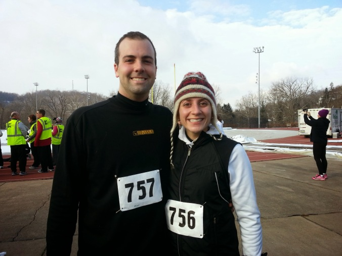 B and me post-race. B rocked and PRd with a 5k in 23 something minutes