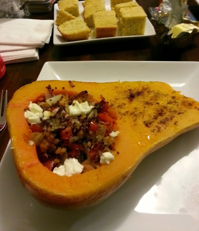 Chicken sausage and goat cheese stuffed butternut squash - i crashed the web