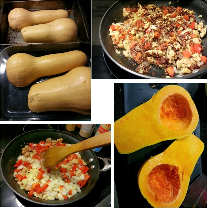 collage - Chicken sausage and goat cheese stuffed butternut squash - i crashed the web