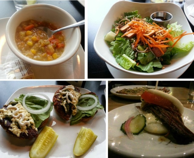 From top left, corn chowder from Flaming Ice Cube, Soba Noodle Salad from FI, Braised Beef Bun from Noodlecat, Pesto Burger from FI