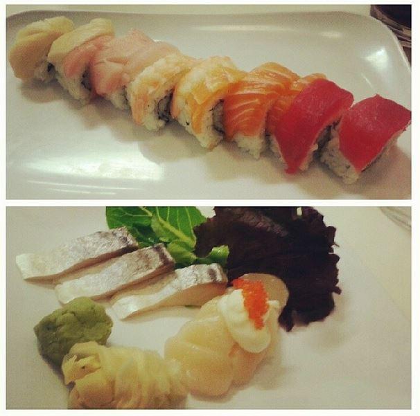 My standard - rainbow roll and mackerel sashimi