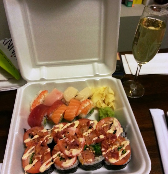 Rainbow roll and Danny's BLT from Sushi 86. And prosecco