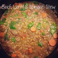 Healthy Comfort Food: Beef, Lentil and Spinach Stew