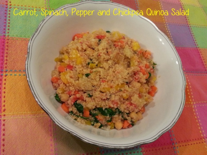 Carrot, Spinach, Pepper + Chickpea Quinoa Salad - i crashed the web