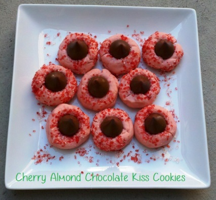 Cherry Almond Chocolate Kiss Cookies - i crashed the web