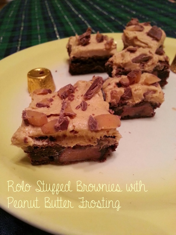 rolo stuffed brownies with peanut butter frosting ~ i crashed the web