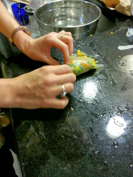 folding the rice paper