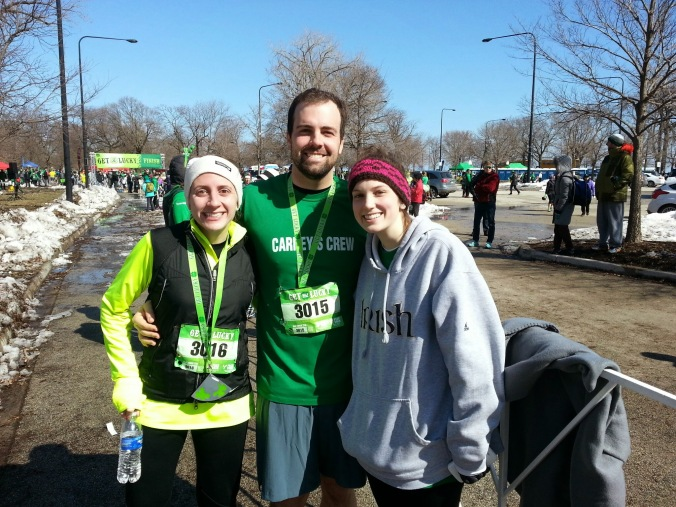 just after crossing the finish line - B, me and his sister Katie