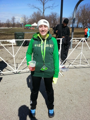 post race swag- sweatshirt, medal and beer!