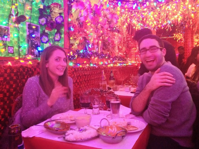 Dinner with Greg. We waited outside this Indian Restaurant for 30 minutes and then were allowed into a scene with TONS of holiday and pepper lights.