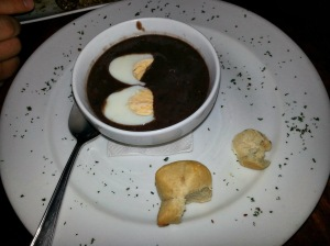 black bean soup at don luis in monteverde