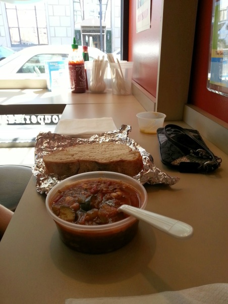awesome veggie lentil soup and amazing hunk of bread.