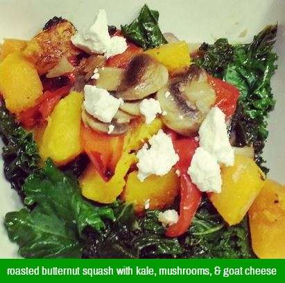 butternut squash kale, mushrooms, onions, roasted red pepper and goat cheese