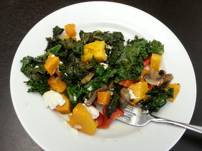 butternut squash with kale, mushrooms, onions, roasted red pepper and goat cheese - i crashed the web