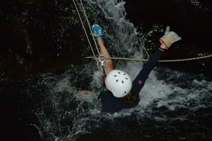 jumping into the water after a rappel. yes, we got wet.