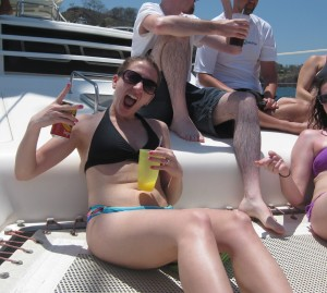 probably the only picture of me in a bathing suit you'll ever see. This is what renting a catamaran looks like. I'm pretending it's a wild and crazy time.