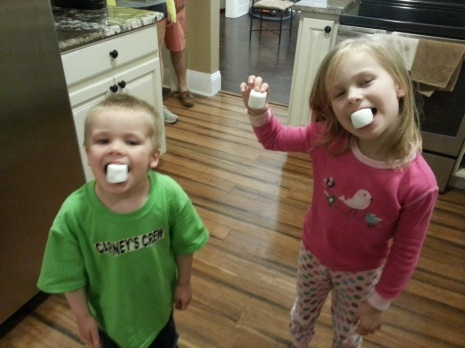 Oliver and Sofia enjoying some sugar before bed