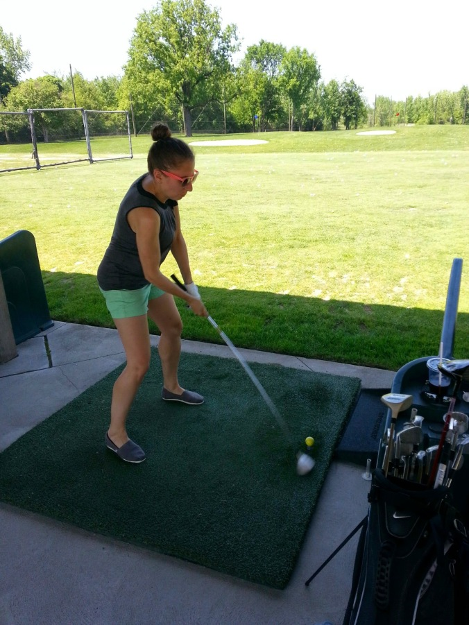Pretending to know how to golf