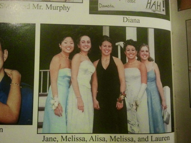 Look what I found in my old yearbook! Five high school best friends before junior year prom. LOOK AT THOSE DRESSES.
