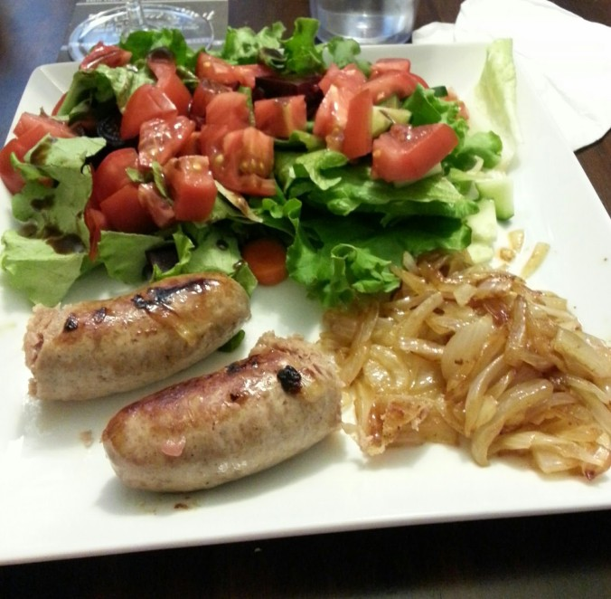 Fresh Fork-inspired dinner - brats, salad and fried onions