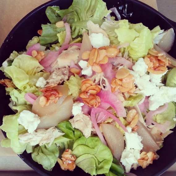 Rothschild Farms House Salad - goat cheese, candied nuts, pears, chicken and pickled onion!