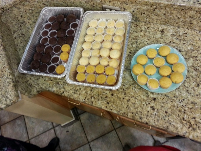 This is what cupcakes for 50 families looks like. We had a blast decorating them with the kids!