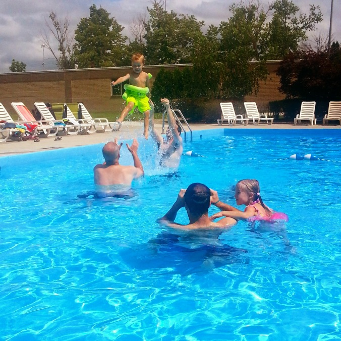 Pool party! Flying baby?