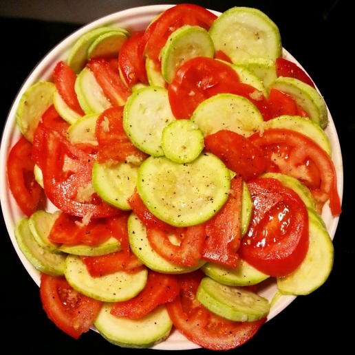 tomatoes and zucchini mostly from Fresh Fork
