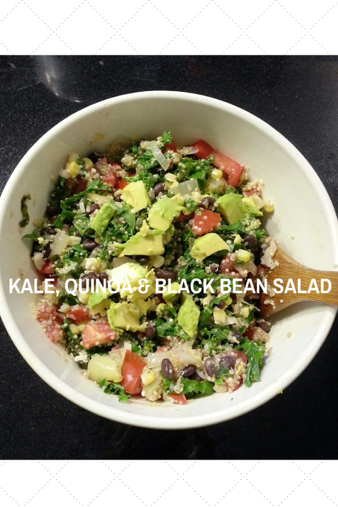 kale, quinoa, black bean and avocado salad