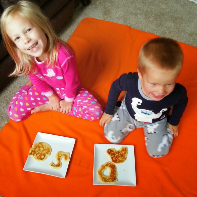 They were pretty excited  for their pancakes.