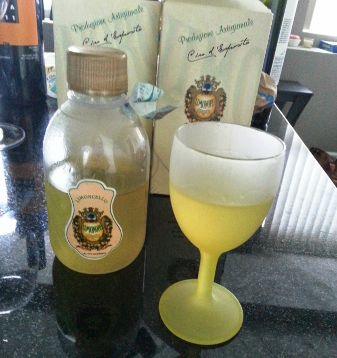 NOT homemade limoncello - rather the limoncello my parents brought me back from their trip to Europe