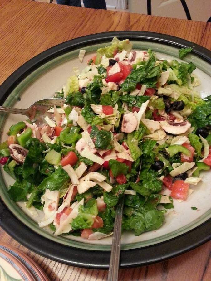 This salad was amazing. Tomato, mozzarella, lettuce, cabbage, mushrooms, peppers, and a fabulous dressing.
