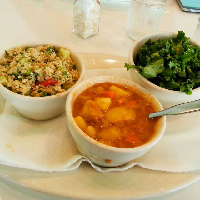 Tabbouli, lentil soup and kale salad for brunch at Phuel.