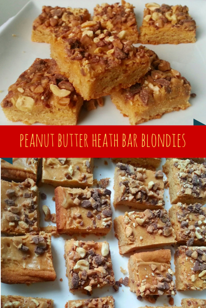 peanut butter heath bar blondies - icrashedtheweb