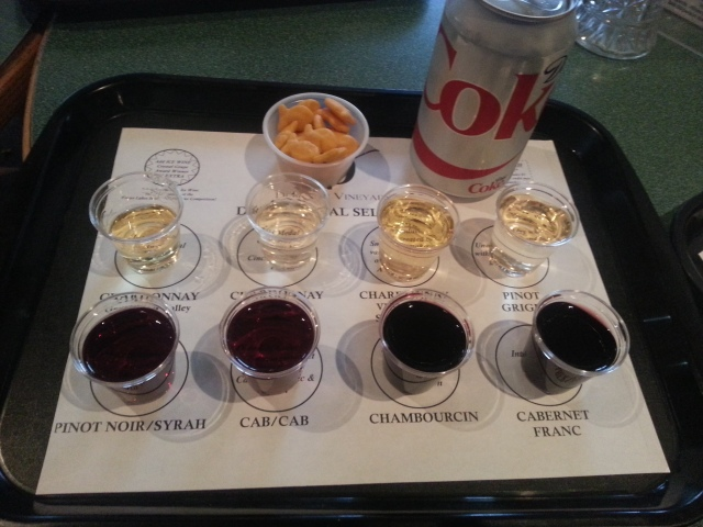 some wine samples. classy with a diet coke, plastic cups and goldfish :)