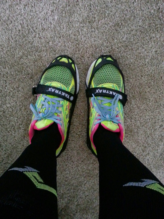 Ready to run with my socks and Yaktrax