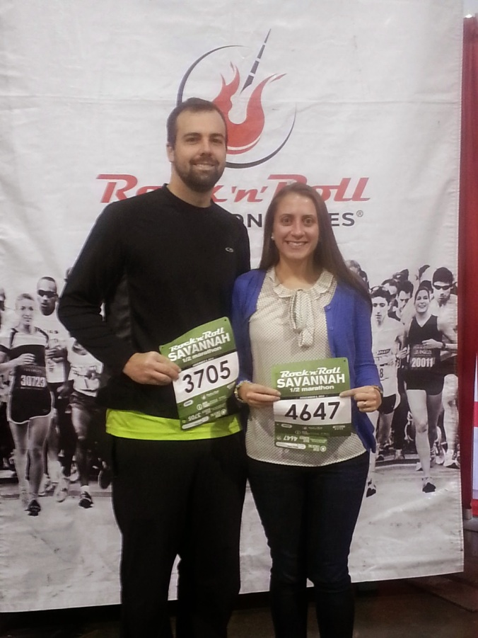 b and i at packet pickup rnr savannah half marathon