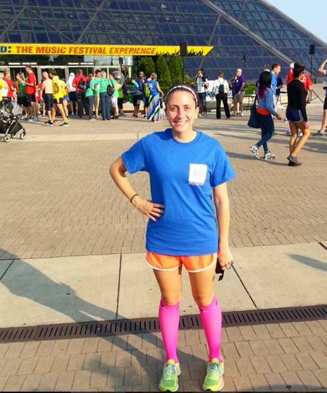 Rocking my neon PRO Compression socks with shorts at a race this summer