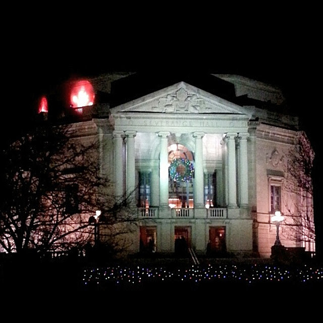 Severance Hall, home of the Cleveland Orchestra, lit up for the holidays