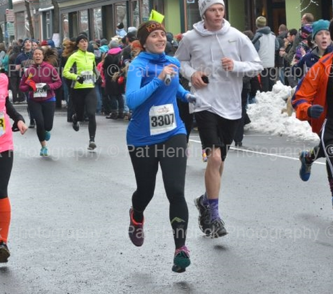 Wearing my new black PRO Compression socks during my recent Turkey Trot