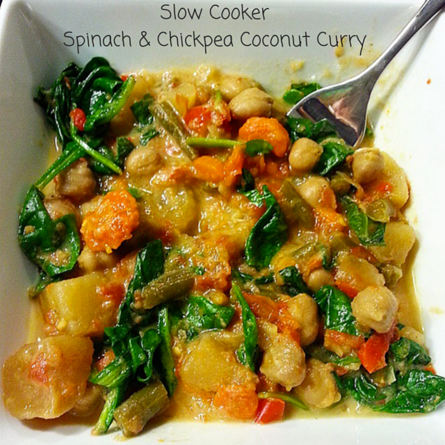 Slow Cooker Spinach and Chickpea Coconut Curry - icrashedtheweb