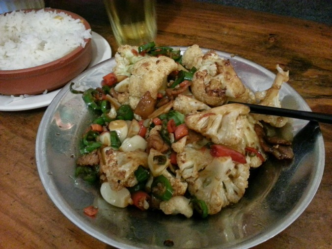 first meal - spicy cauliflower!