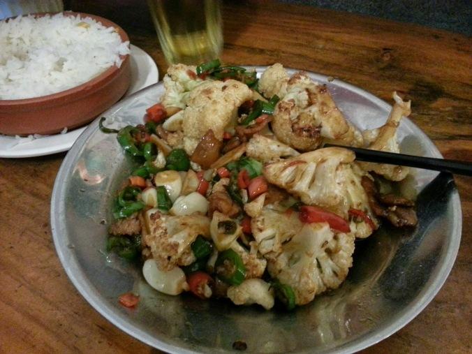 first meal - spicy cauliflower!