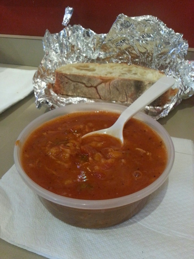 soup and bread at Soupermarket!