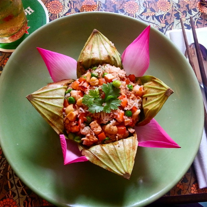 my finished meal - fried rice in a lotus leaf!